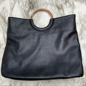 LC Faux black leather clutch with gold ring handle